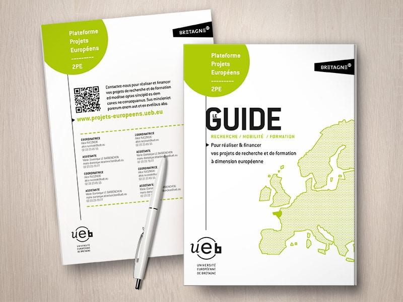 Création d'un Guide pour l'Université Européenne de Bretagne, par Caroline Prouvost, graphiste freelance à Nantes