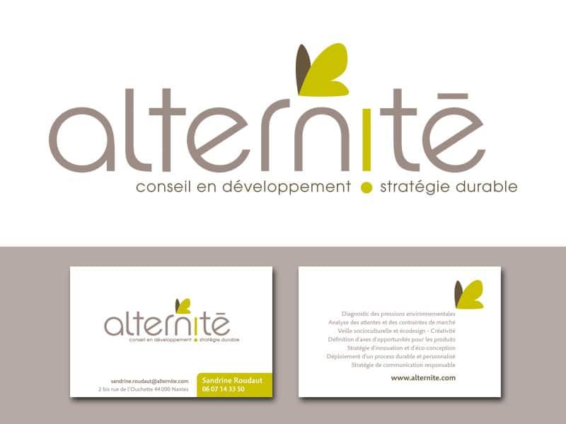 Création du logo et de l'identité visuelle d'Alternité, par Caroline Prouvost, direction artistique, graphisme, illustration à Nantes 44