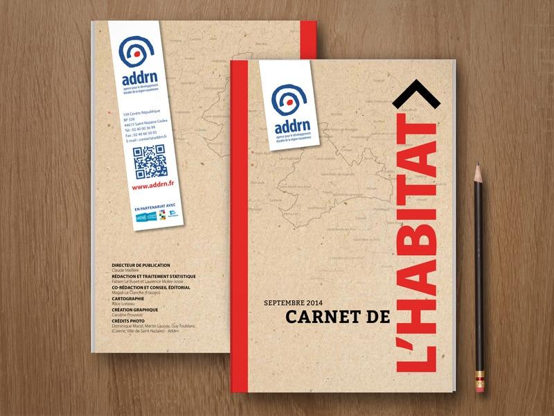Couverture du Guide de l'Habitat, pour l'ADDRN, Agence d'urbanisme de Saint-Nazaire et sa région par Caroline Prouvost, graphiste indépendante à Nantes