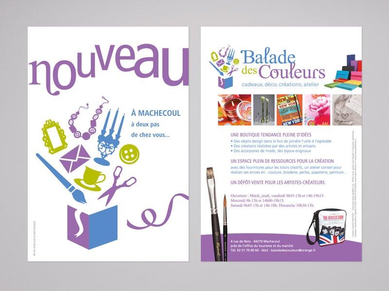 Création de flyers pour la boutique atelier Balade des Couleurs, par Caroline Prouvost, graphiste à Nantes