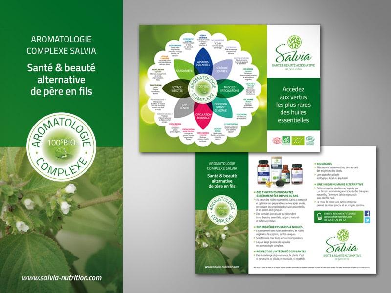 Création d'un flyer multi-usage : sur le lieu de vente, leaflet-guide pour le consommateur, pour les commerciaux Salvia, outil d'aide à la vente
