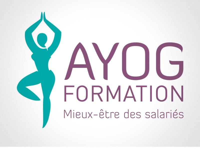 Création du logo de AYOG FORMATION, cours et ateliers de yoga pour les salariés à Nantes, par Caroline Prouvost, directrice artistique à Nantes