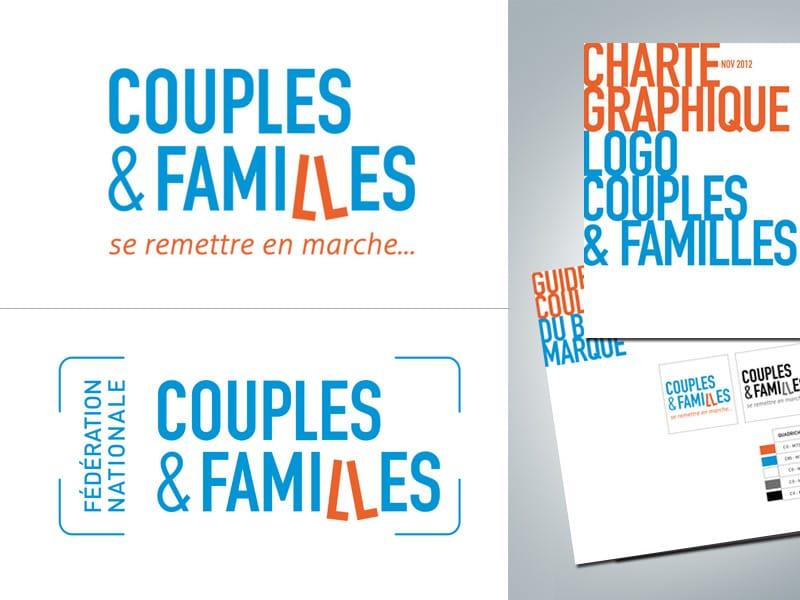 Création du logo Couples & Familles et de la charte graphique associée, par Caroline Prouvost, graphiste freelance à Nantes