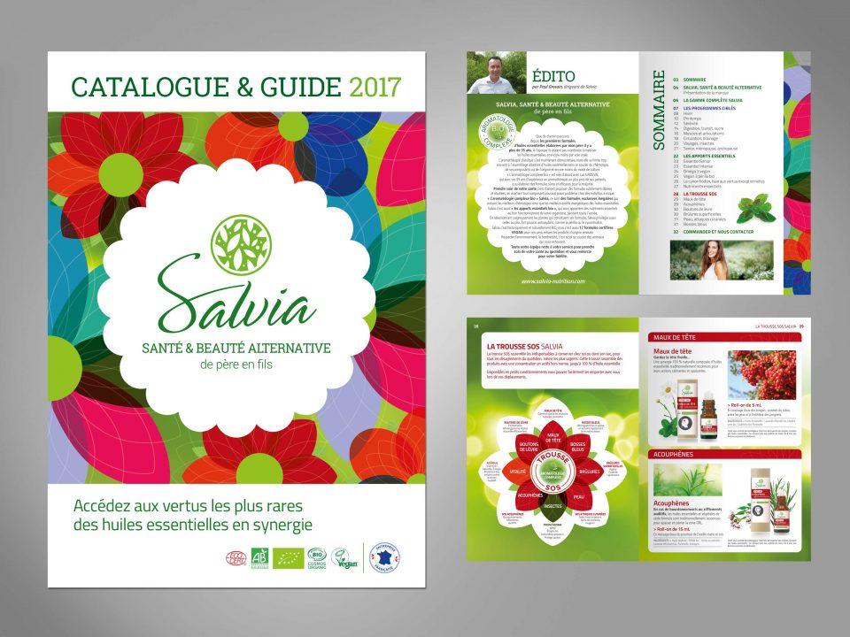 Création et mise en page du catlogue produits Salvia, huilles essentielles bio, beauté et santé alternative. Par Caroline Prouvost, graphiste à Nantes, espace de coworking Esperluette.