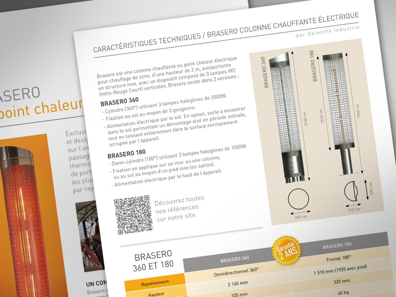 Zoom mise en page : schéma caractéristiques techniques du chauffage Brasero, colonne chauffante Delestre Industrie