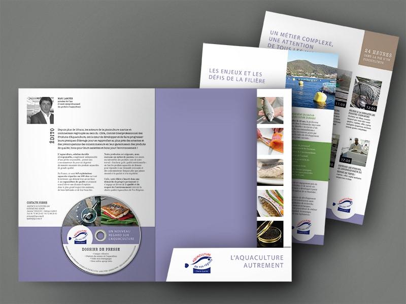 Mise en page du dossier de presse pour le Cipa, l'Aquaculture Autrement, par agence graphisme Nantes Caroline Prouvost