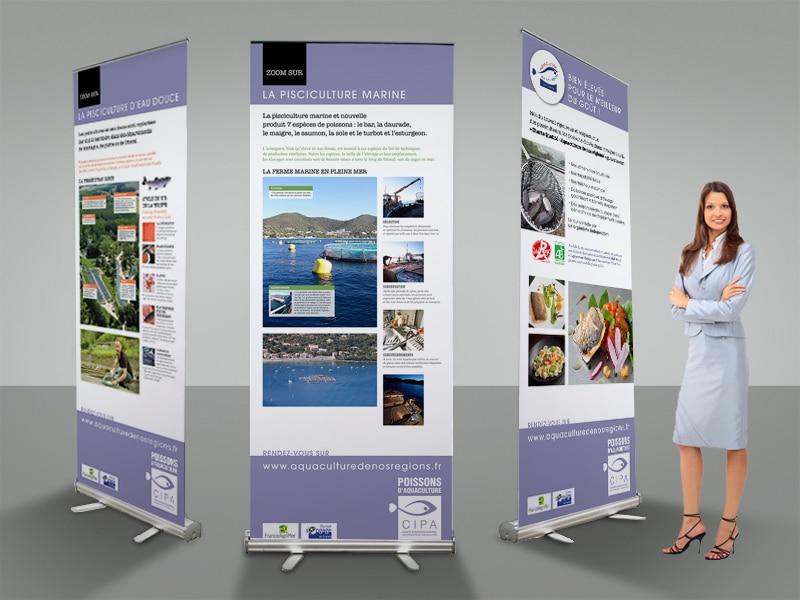 Mise en page de kakémonos - roll up - pour un salon, pour le CIPA, aquaculture de nos régions. Commanditaire : agence de communication Gulfstream