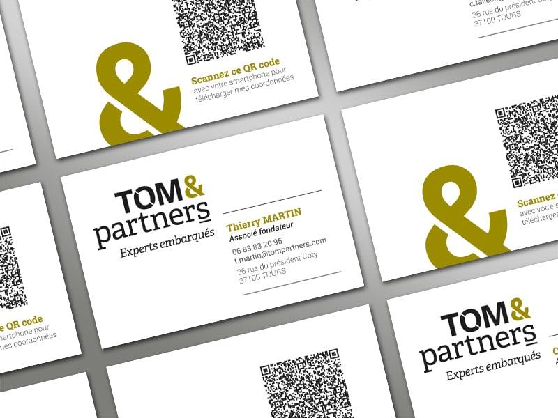 Création des cartes de visite, de la papeterie, du gabarit powerpoint pour la société de conseil Tom & Partners, experts ressources humaines, systèmes de management, organisation et accompagnement des dirigeants d'entreprise.