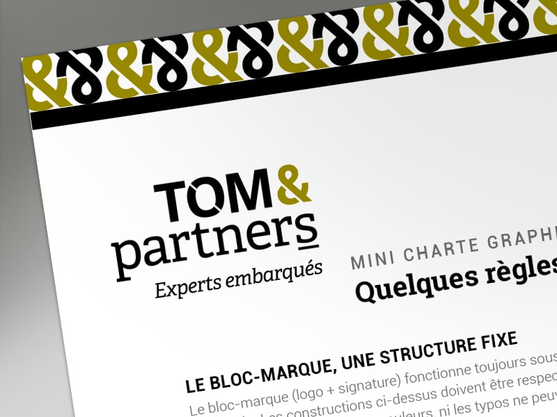 Communication visuelle, création du logo et de l'image de marque du cabinet de conseil Tom & Partners, experts embarqués à Tours, qui accompagne les entrepreneurs.