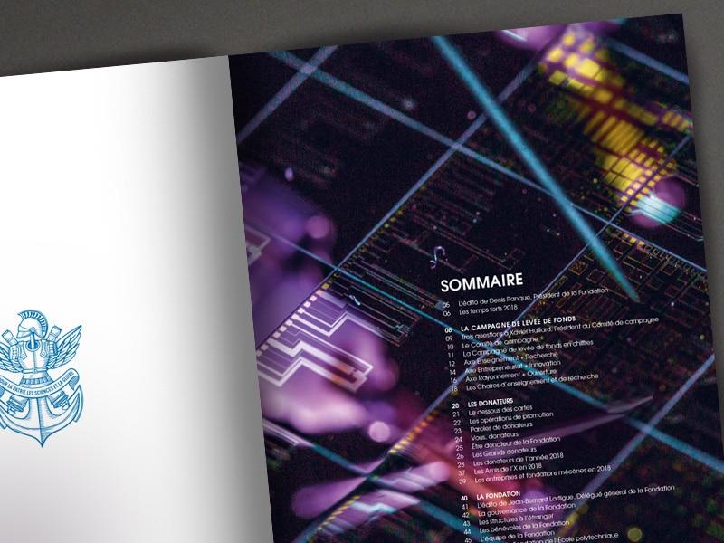 Graphic design Bilan 2018 // Fondation de l'École polytechnique Paris Saclay